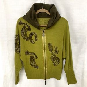 Green Faux Hoodie Collar Cardigan Embroidered M